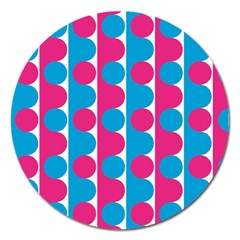 Pink And Bluedots Pattern Magnet 5  (round)