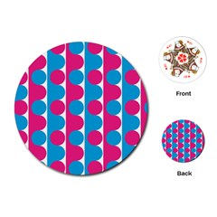 Pink And Bluedots Pattern Playing Cards (round)