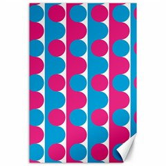 Pink And Bluedots Pattern Canvas 24  X 36  by BangZart