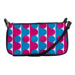 Pink And Bluedots Pattern Shoulder Clutch Bags