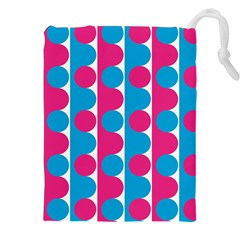 Pink And Bluedots Pattern Drawstring Pouches (xxl)