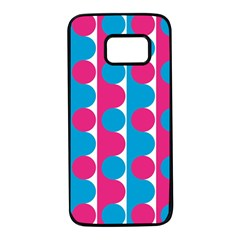 Pink And Bluedots Pattern Samsung Galaxy S7 Black Seamless Case