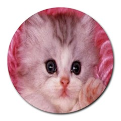 Cat  Animal  Kitten  Pet Round Mousepads by BangZart