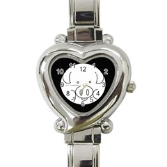 Pig Logo Heart Italian Charm Watch by BangZart