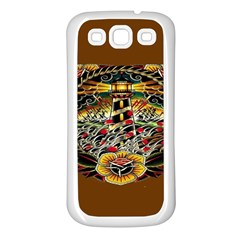 Tattoo Art Print Traditional Artwork Lighthouse Wave Samsung Galaxy S3 Back Case (white)