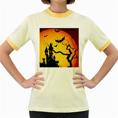 Halloween Night Terrors Women s Fitted Ringer T Shirts