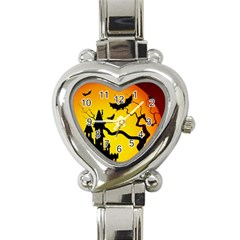 Halloween Night Terrors Heart Italian Charm Watch by BangZart