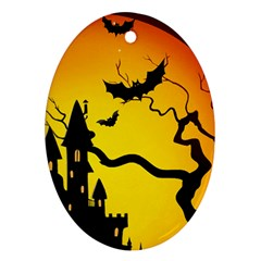 Halloween Night Terrors Oval Ornament (two Sides) by BangZart