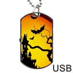 Halloween Night Terrors Dog Tag Usb Flash (one Side)