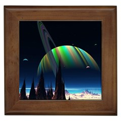 Planets In Space Stars Framed Tiles by BangZart