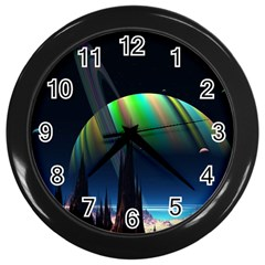 Planets In Space Stars Wall Clocks (black) by BangZart