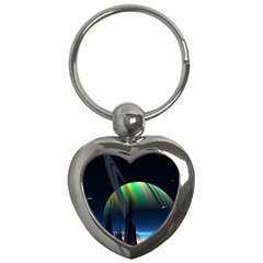 Planets In Space Stars Key Chains (heart)
