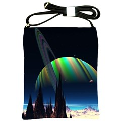 Planets In Space Stars Shoulder Sling Bags by BangZart