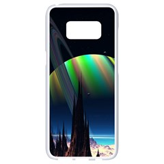 Planets In Space Stars Samsung Galaxy S8 White Seamless Case by BangZart