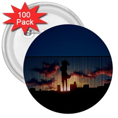 Art Sunset Anime Afternoon 3  Buttons (100 Pack)