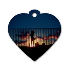 Art Sunset Anime Afternoon Dog Tag Heart (one Side)