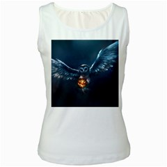 Owl And Fire Ball Women s White Tank Top