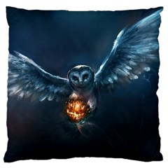 Owl And Fire Ball Large Flano Cushion Case (one Side)