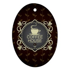 Coffee House Oval Ornament (two Sides)