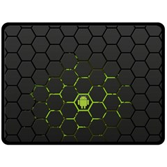 Green Android Honeycomb Gree Double Sided Fleece Blanket (large)