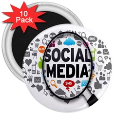 Social Media Computer Internet Typography Text Poster 3  Magnets (10 Pack)  by BangZart