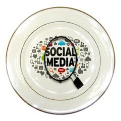 Social Media Computer Internet Typography Text Poster Porcelain Plates
