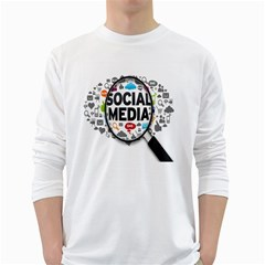 Social Media Computer Internet Typography Text Poster White Long Sleeve T Shirts by BangZart