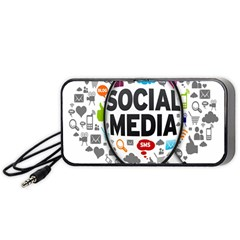 Social Media Computer Internet Typography Text Poster Portable Speaker (black) by BangZart