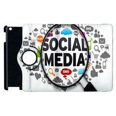 Social Media Computer Internet Typography Text Poster Apple Ipad 3/4 Flip 360 Case
