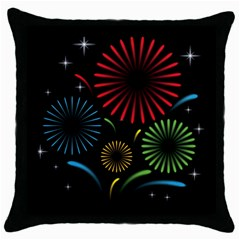 Fireworks With Star Vector Throw Pillow Case (black) by BangZart