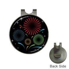 Fireworks With Star Vector Hat Clips With Golf Markers