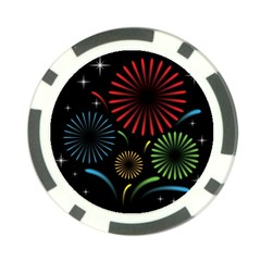 Fireworks With Star Vector Poker Chip Card Guard (10 Pack)