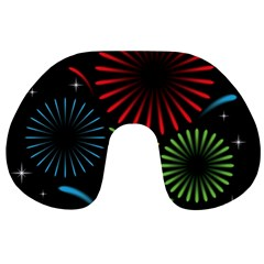 Fireworks With Star Vector Travel Neck Pillows by BangZart