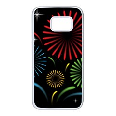 Fireworks With Star Vector Samsung Galaxy S7 White Seamless Case by BangZart
