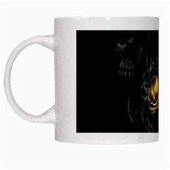 Art Fiction Black Skeletons Skull Smoke White Mugs by BangZart