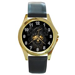Art Fiction Black Skeletons Skull Smoke Round Gold Metal Watch