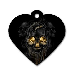 Art Fiction Black Skeletons Skull Smoke Dog Tag Heart (one Side)