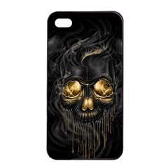 Art Fiction Black Skeletons Skull Smoke Apple Iphone 4/4s Seamless Case (black)