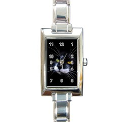 Face Black Cat Rectangle Italian Charm Watch
