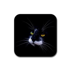 Face Black Cat Rubber Square Coaster (4 Pack)  by BangZart