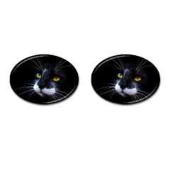 Face Black Cat Cufflinks (oval) by BangZart