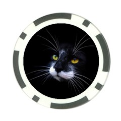 Face Black Cat Poker Chip Card Guard (10 Pack) by BangZart