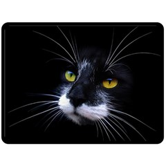 Face Black Cat Double Sided Fleece Blanket (large)  by BangZart