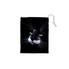 Face Black Cat Drawstring Pouches (xs)  by BangZart
