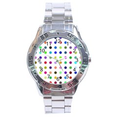 Circle Pattern Stainless Steel Analogue Watch by BangZart