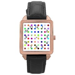 Circle Pattern Rose Gold Leather Watch  by BangZart