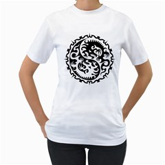 Ying Yang Tattoo Women s T-shirt (white) (two Sided) by BangZart