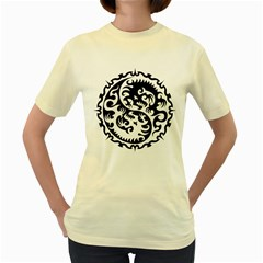 Ying Yang Tattoo Women s Yellow T-shirt by BangZart