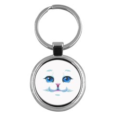 Cute White Cat Blue Eyes Face Key Chains (round)  by BangZart