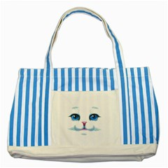 Cute White Cat Blue Eyes Face Striped Blue Tote Bag